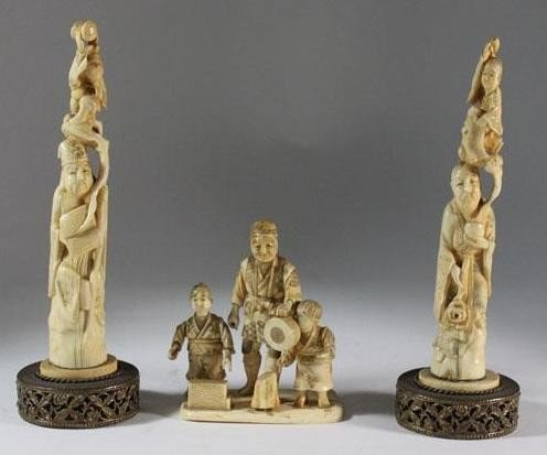 2: Lot of (3) Hand Carved Ivory Studies