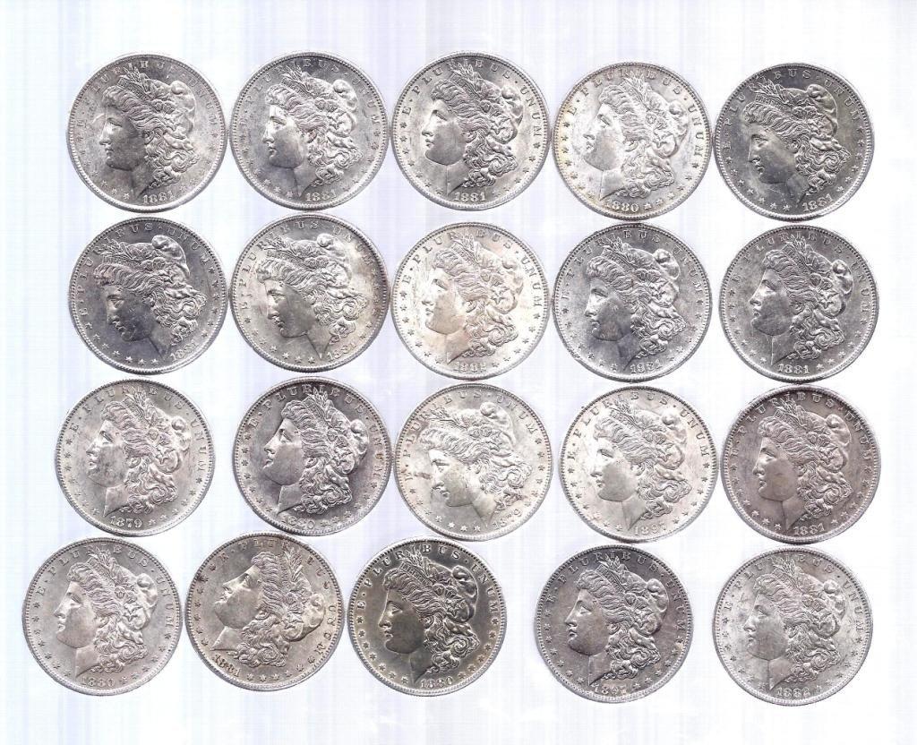 5: Roll of BU Morgan Silver Dollars all S Mint