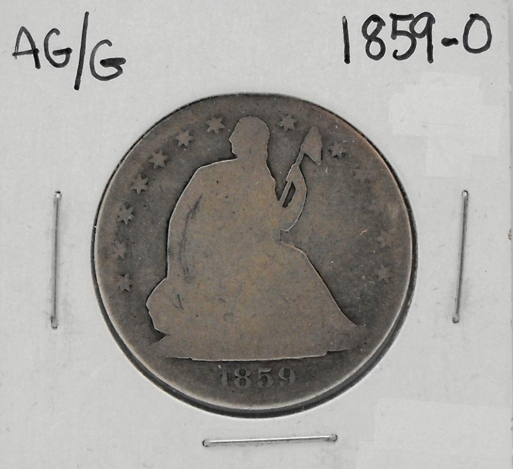 57Y: 1859 -O Seated Liberty Half Dollar
