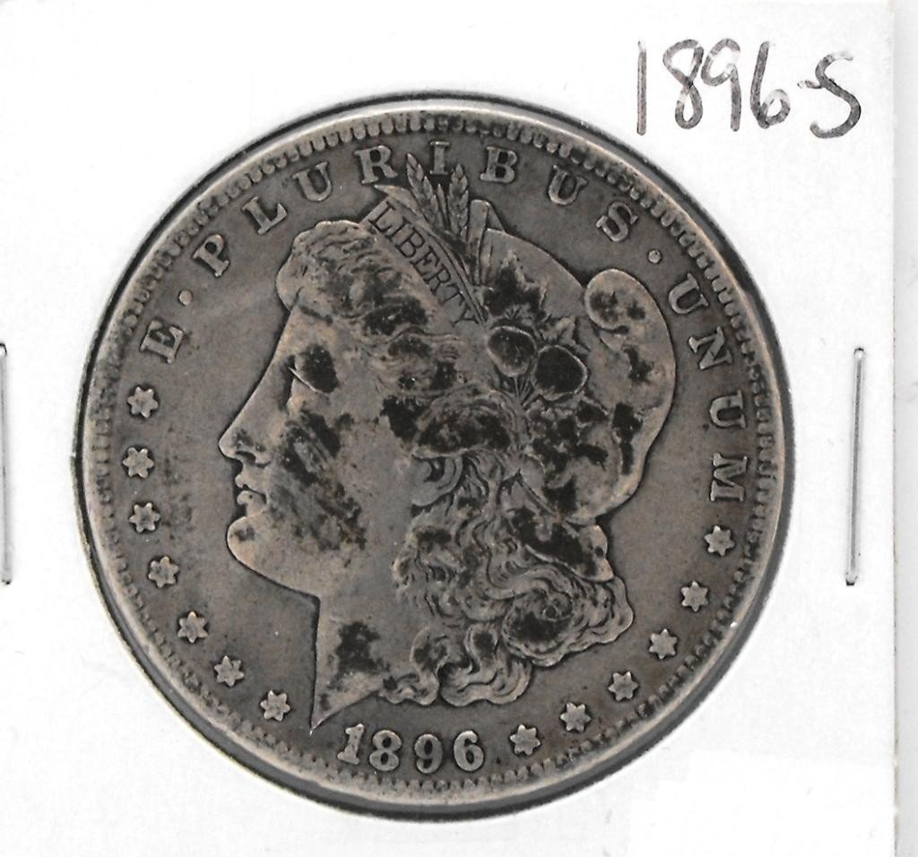 60Y: 1896 S Key Date Morgan Dollar f-xf grade
