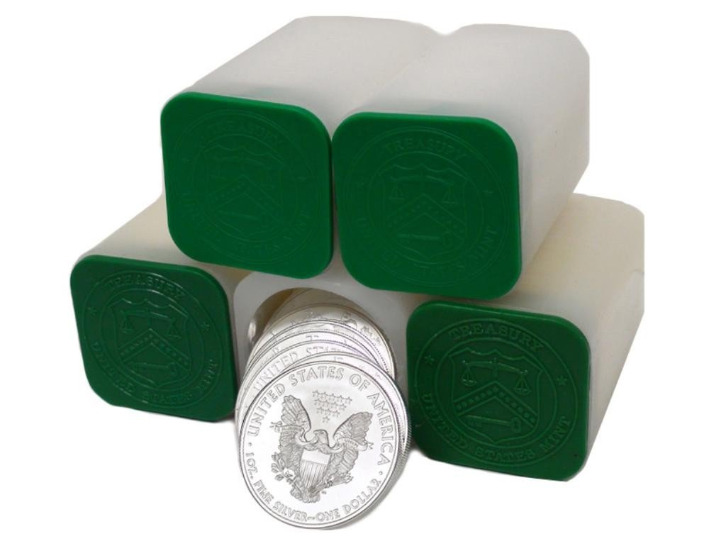 5A: 100 US Minted SIlver Eagles in Mint Tubes