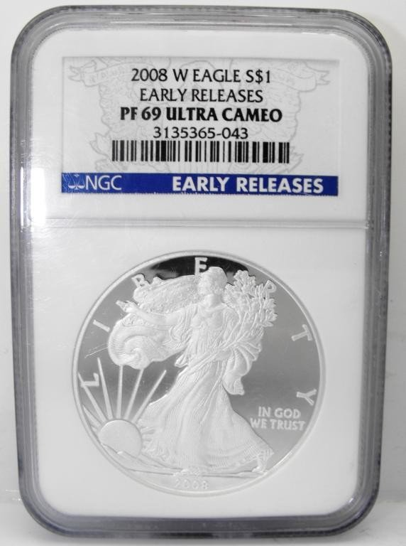 7: 2008 Proof MS 69 SIlver Eagle NGC
