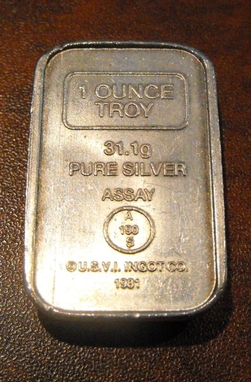 10: 1 Troy Oz Silver Bar Bullion