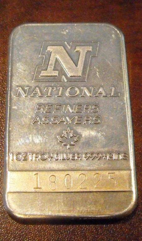 12: 1 Troy Oz Silver Bar Bullion