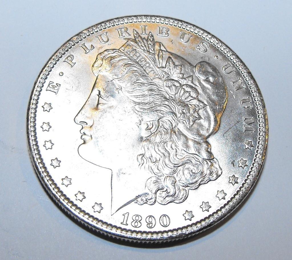 5: 1890 P BU Morgan Silver Dollar