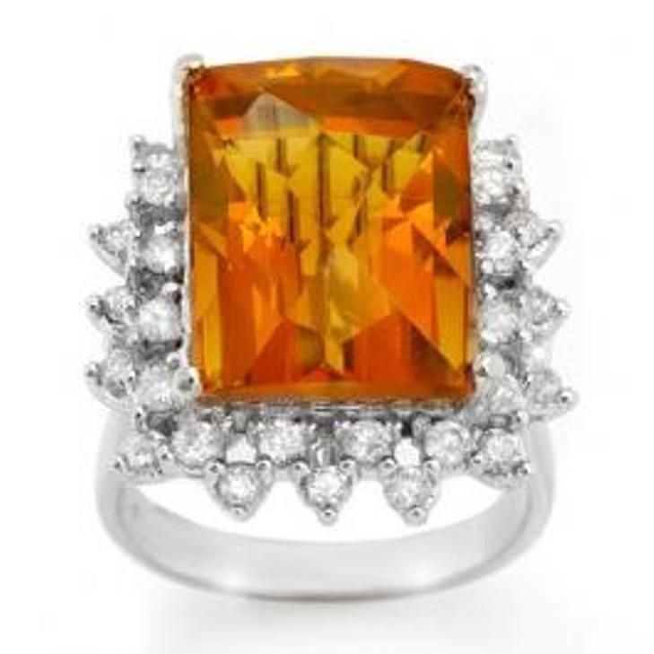 25W: 17.15 ctw Citrine & Diamond Ring 10K White Gold