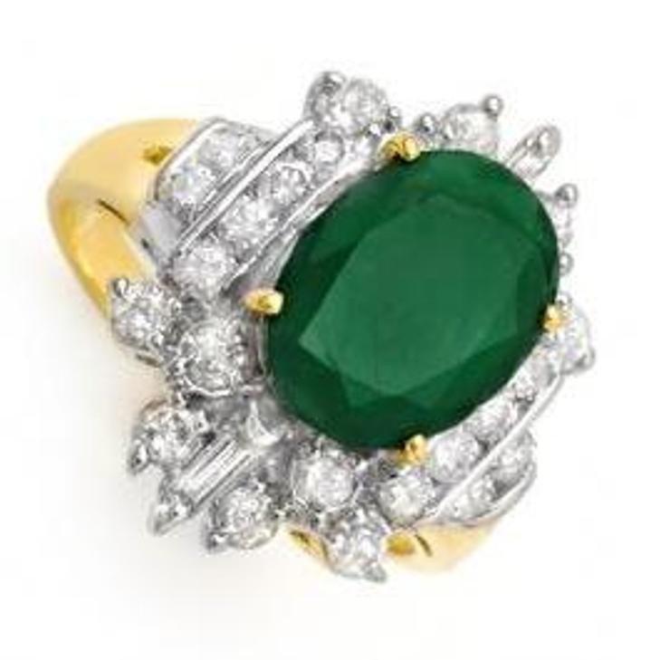 28W: 4.0 ctw Emerald & Diamond Ring 14K Yellow Gold