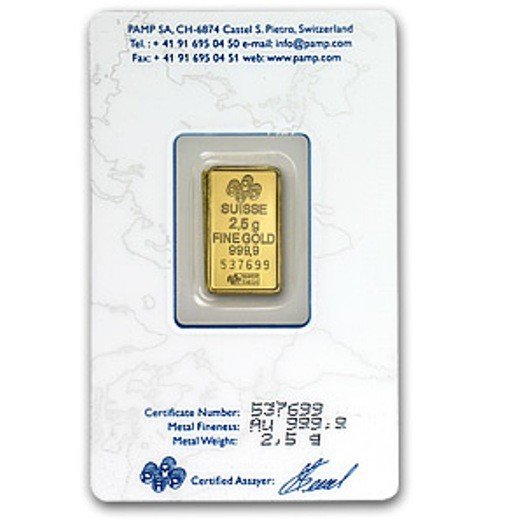 26C: 2.5 Gram Pamp Suisse Ingot