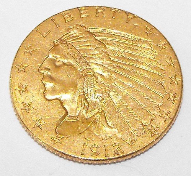 4A: 1912 P $2.5 Indian Quarter Eagle