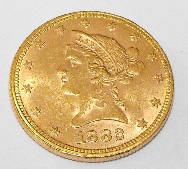 6A: 1882 P $ 10 Gold Liberty Eagle Coin UNCIRCULATED