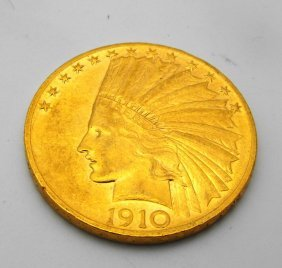 2: 1910 P $ 10 Gold Indian Coin