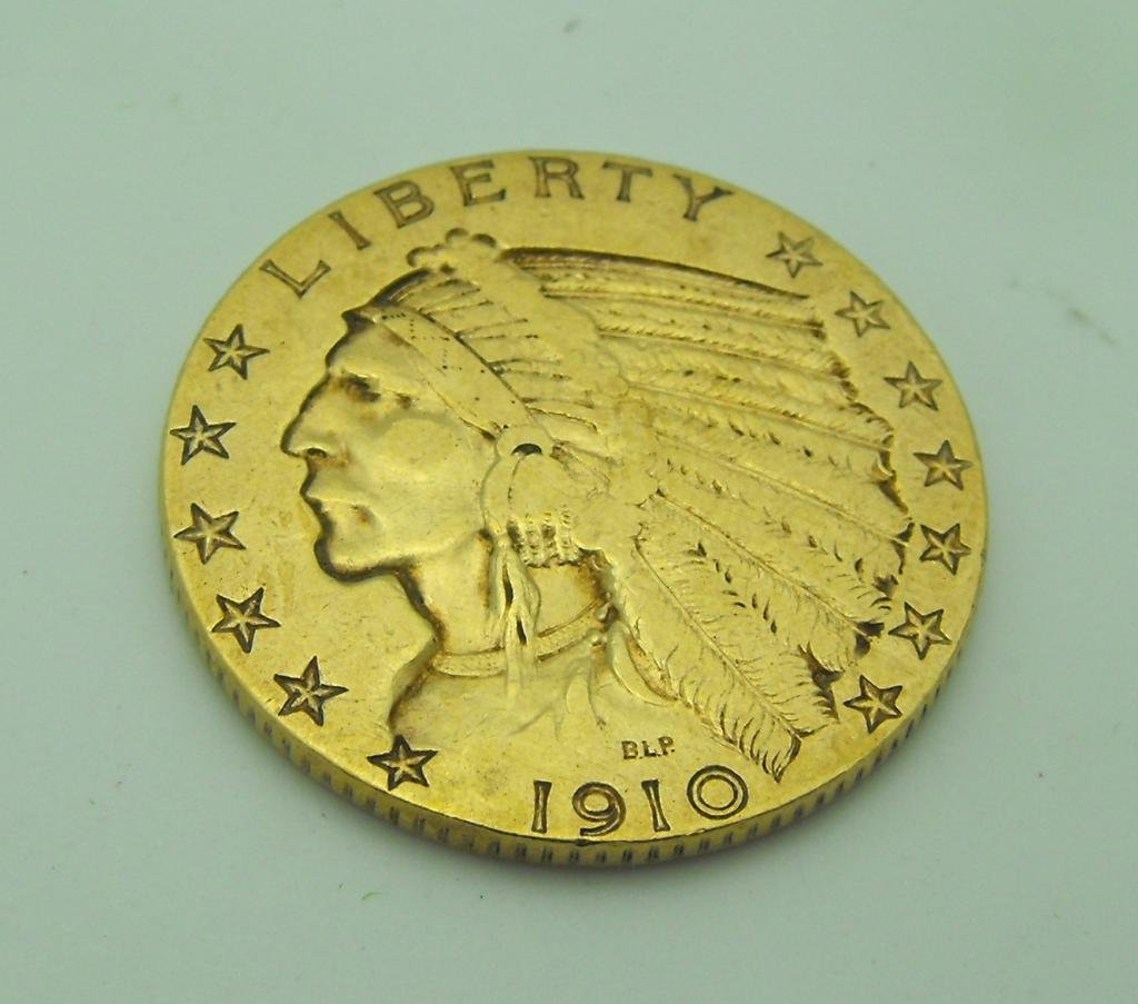 3: 1910 P $ 5 Indian Gold Coin