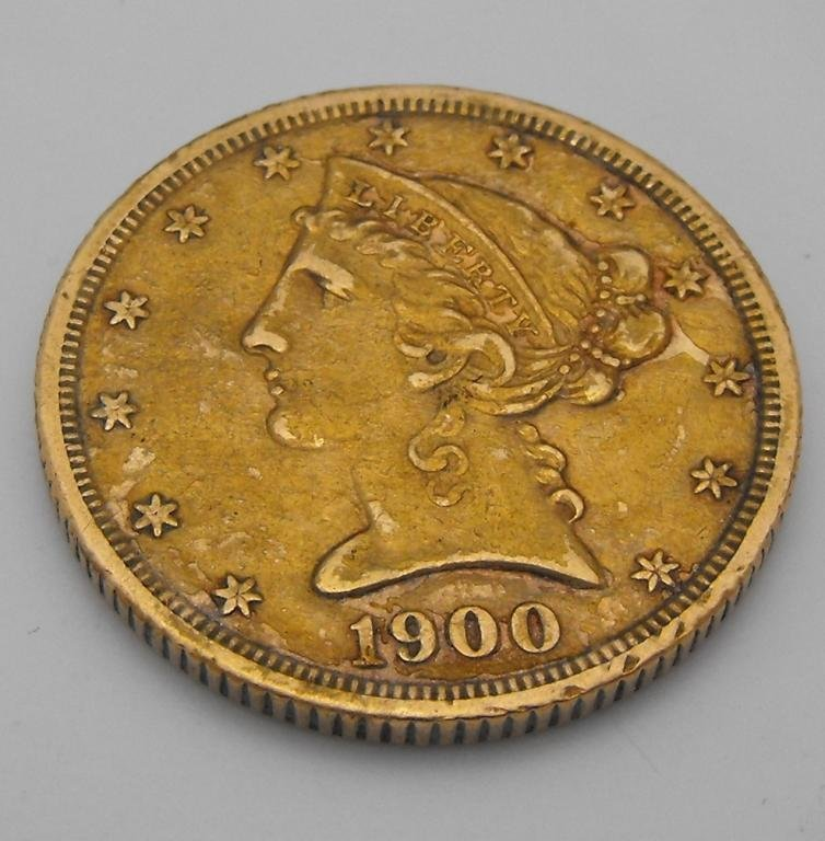 4: 1900 S $ 5 Gold Liberty Coin