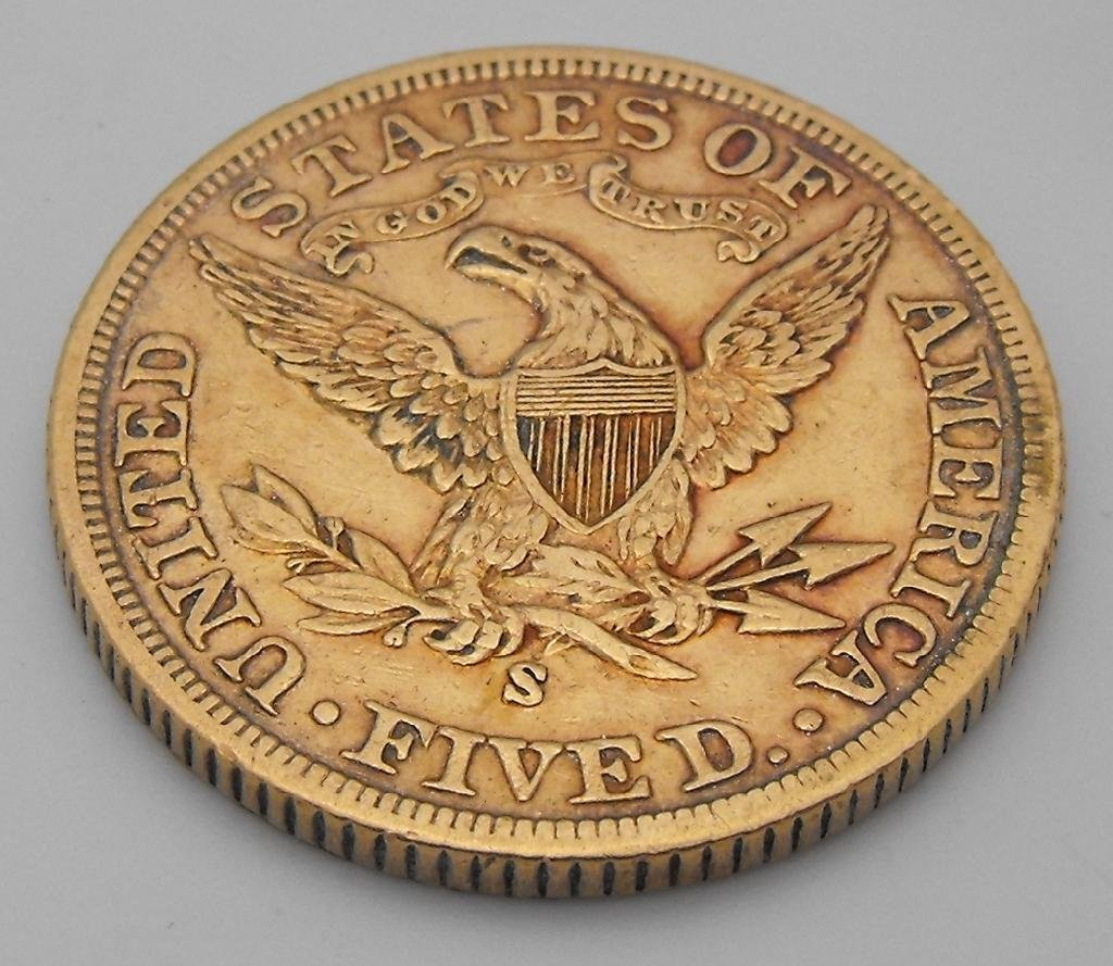 4: 1900 S $ 5 Gold Liberty Coin - 2