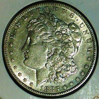 2: 1883 S AU Grade Morgan Silver Dollar