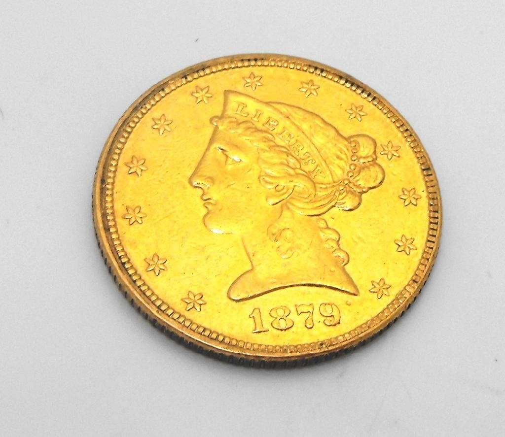 6: 1879 P $ 2.5 Gold Liberty Quarter Eagle