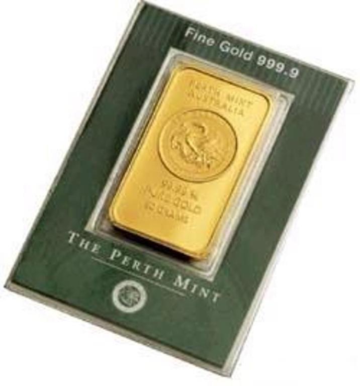 32O: 1oz Perth Gold Bar .9999 Pure