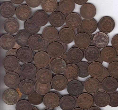 33O: Lot OF 100 Indian Head Pennys