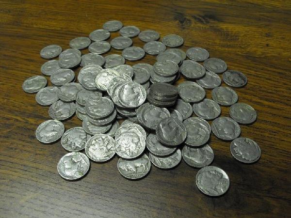 36O: Lot Of 100 Buffalo Nickels-No Date