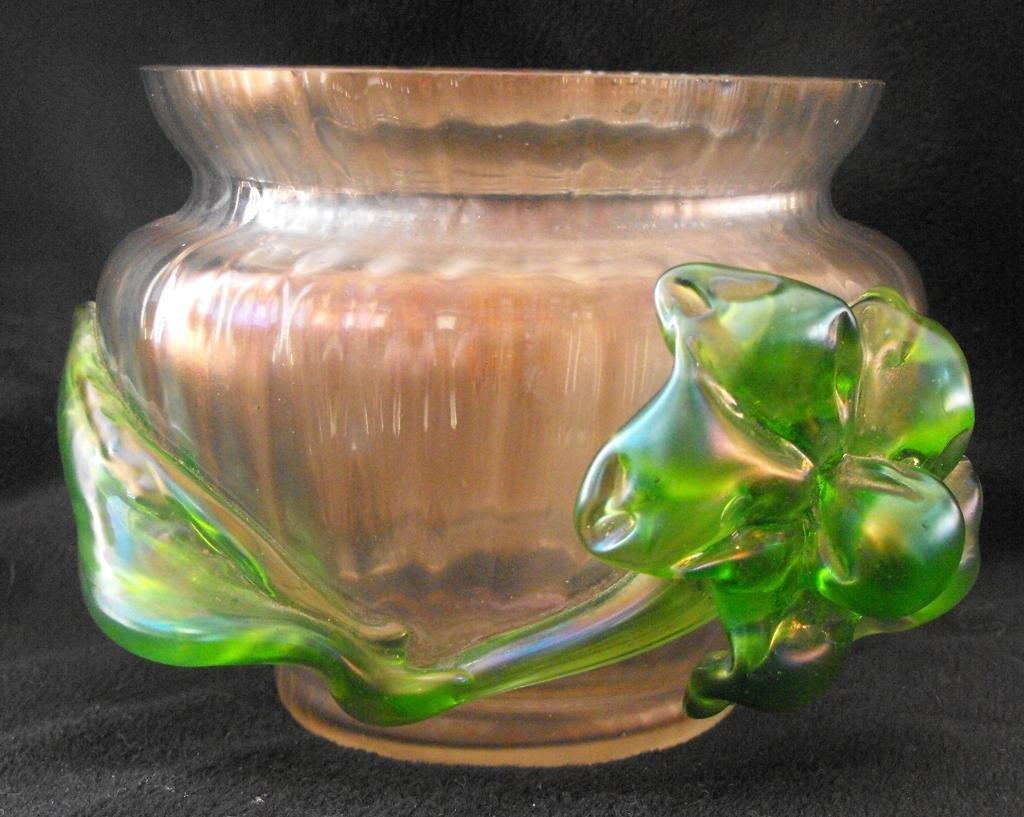 4A: Bohemian Art Glass Applied Vessel