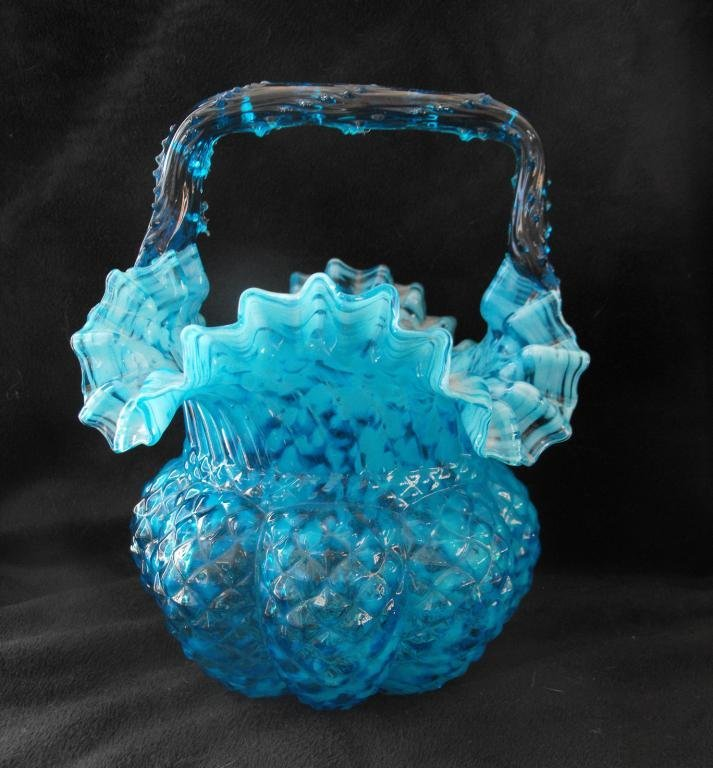11A: Fine Blue Art Glass Basket
