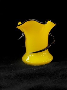 Czech Art Deco Yellow Vase