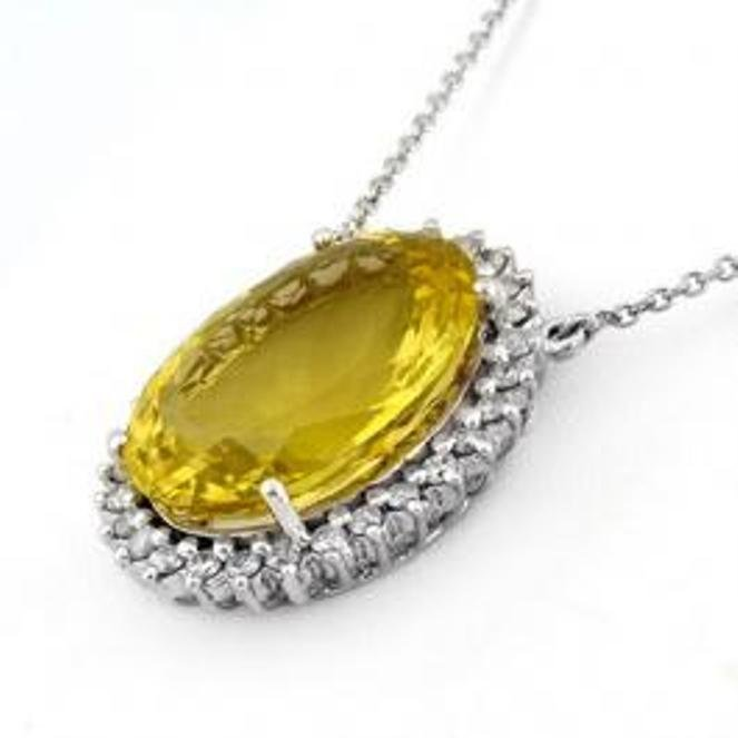 52J: 32.0 ctw Lemon Topaz & Diamond Necklace