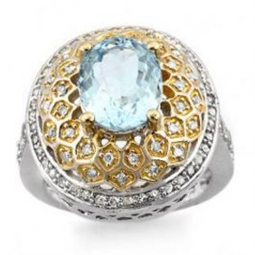 4.05 Ctw Aquamarine & Diamond Ring 14K