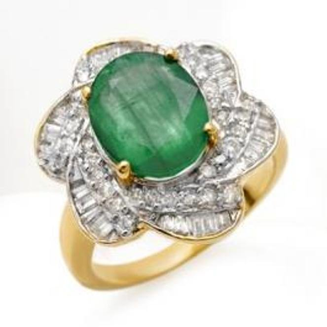 68J: 5.15 ctw Emerald & Diamond Ring 14K