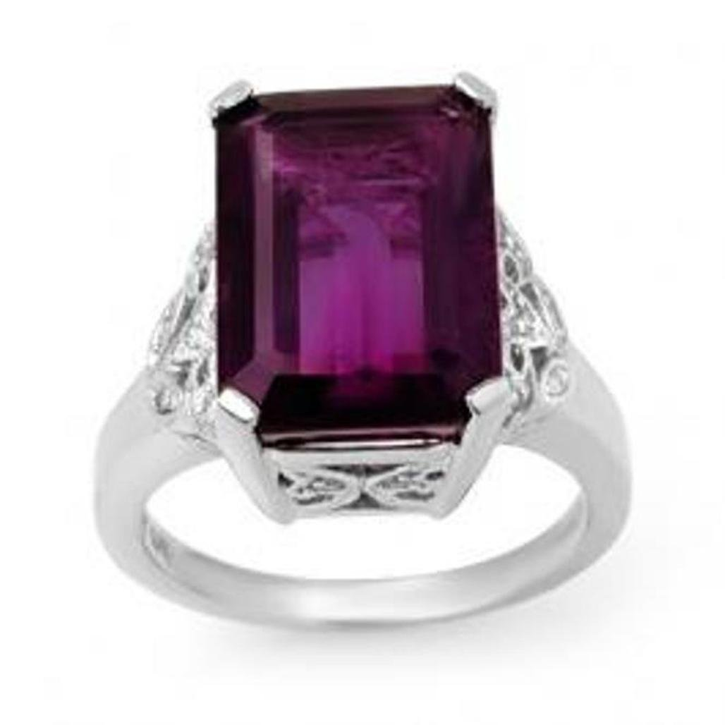 74J: 8.20 ctw Amethyst & Diamond Ring 14K