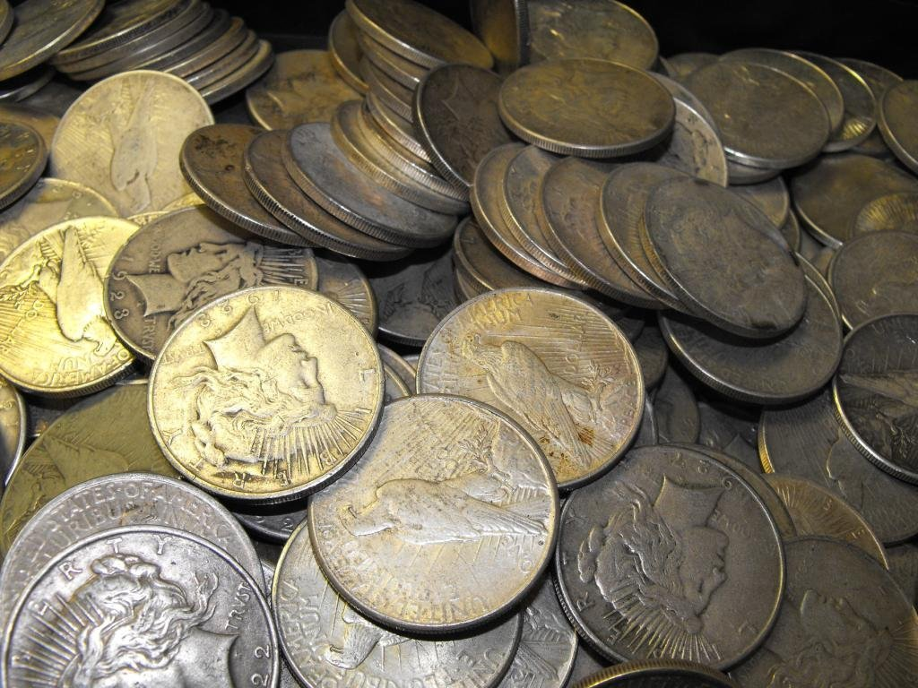 27C: Lot of 100 Peace Dollars ag-au