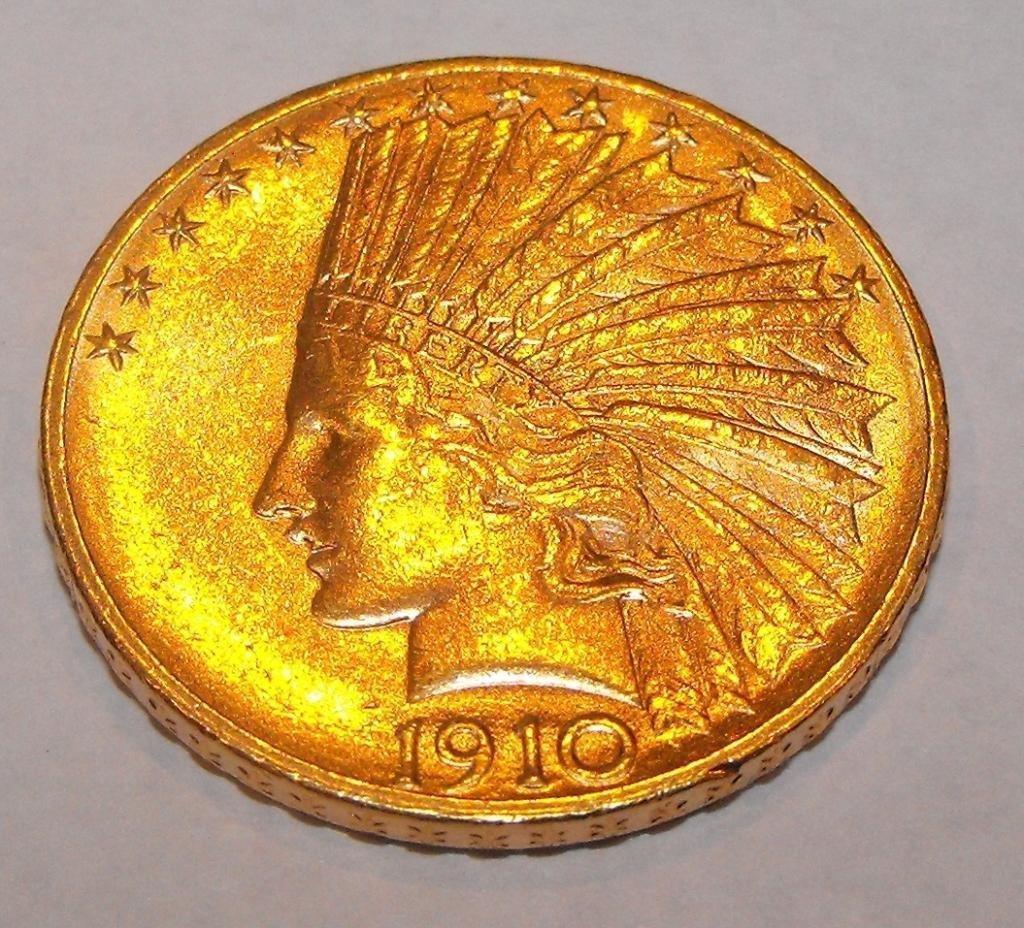 1: 1910 D $ 10 Gold Indian Eagle