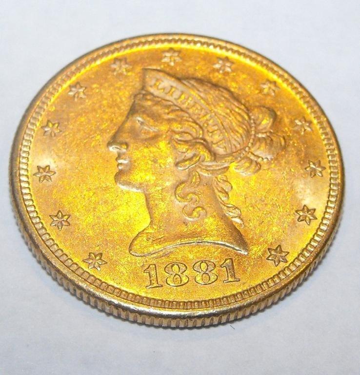 2: 1881 S $ 10 Gold Liberty Eagle