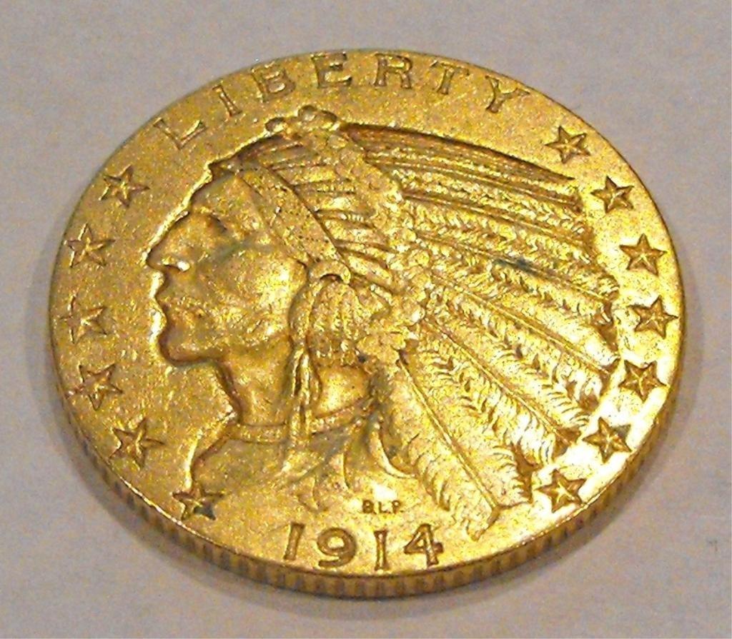 3: 1914 $ 5 Gold Indian Half Eagle