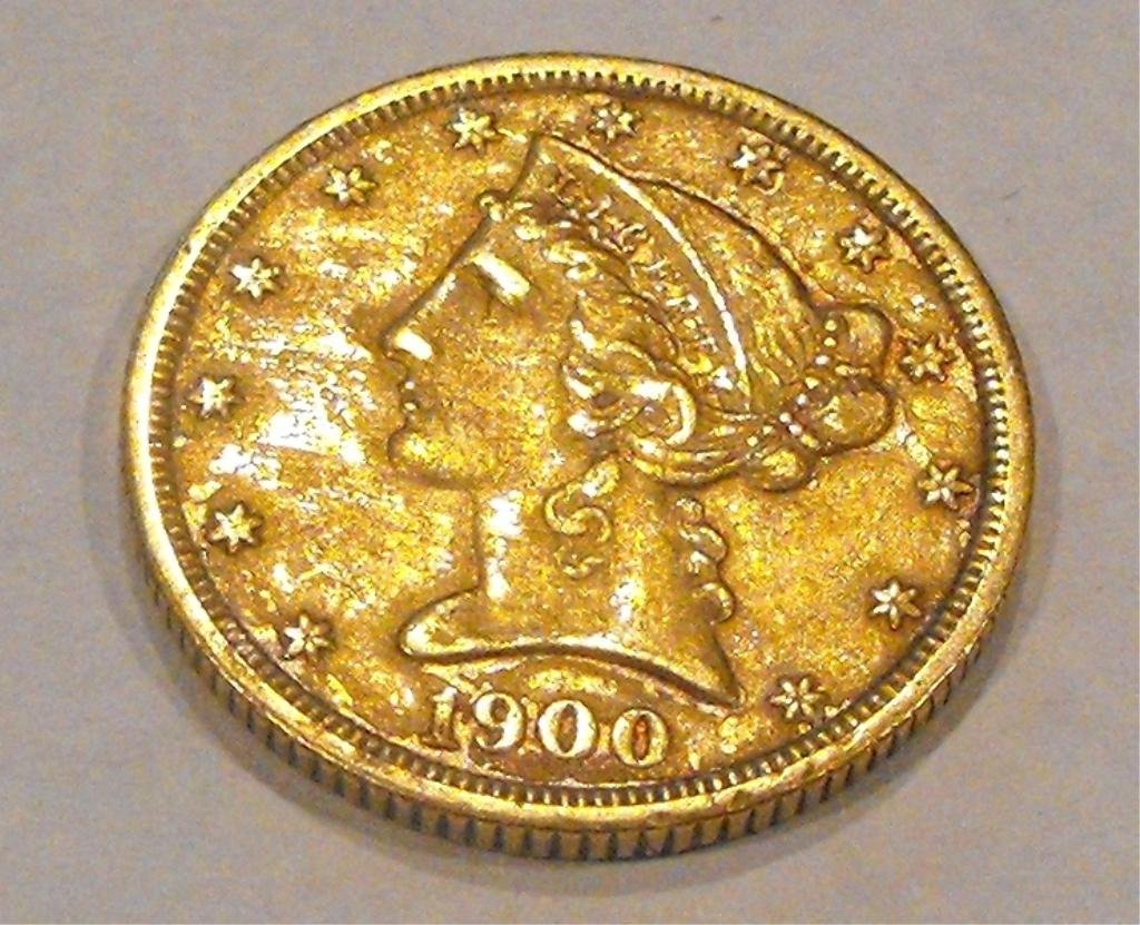 5: 1900 S $ 5 Liberty Gold Coin