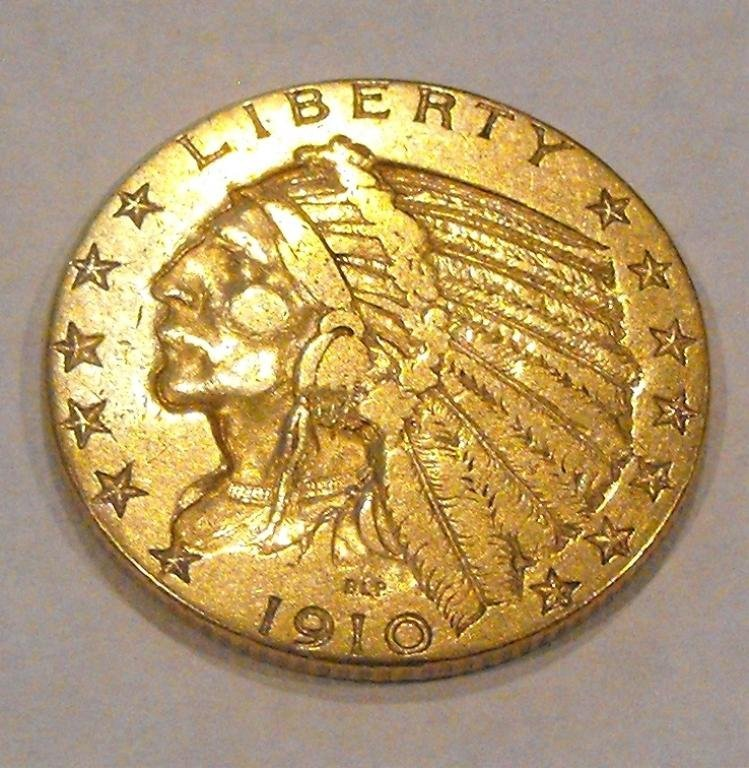 7: 1910 $ 5 Gold Indian Coin