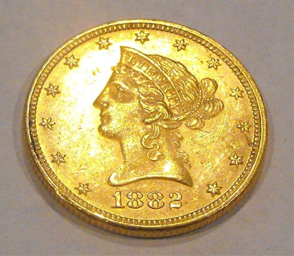 9: 1882 P $ 10 Liberty AU GRADE