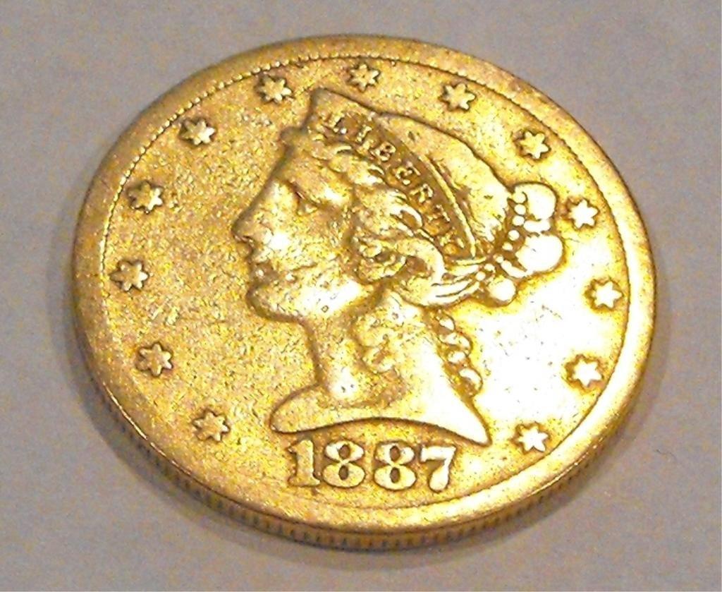 10: 1887 S Tough Date $ 5 Gold Liberty