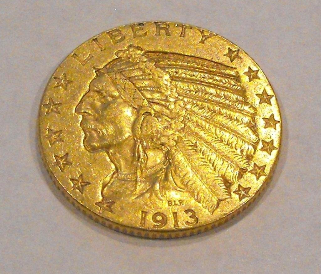 11: 1913 $ 5 Gold Indian