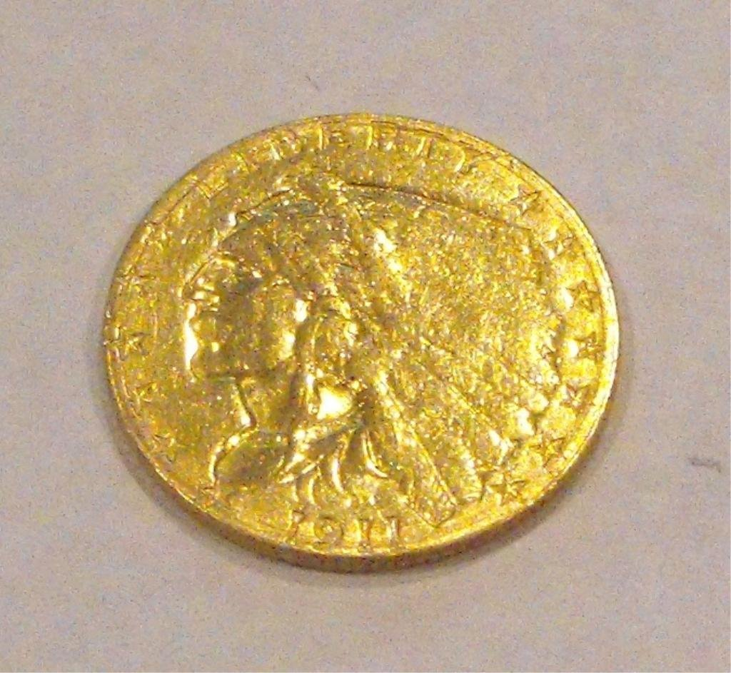 13: 1911 $ 2.5 Gold Indian Coin