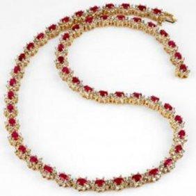 27.10 Ctw Ruby & Diamond Necklace