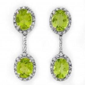 8.10 Ctw Peridot & Diamond Earrings