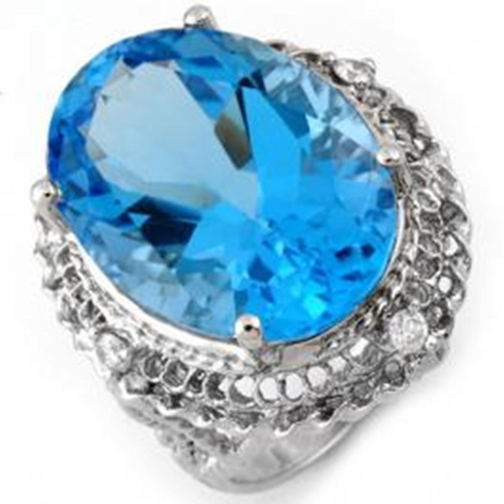 8D: 18.15 ctw Blue Topaz & Diamond Ring
