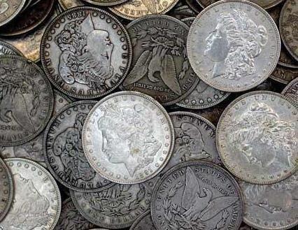 4G: Lot of 50 AG-AU Grade Morgan Dollars