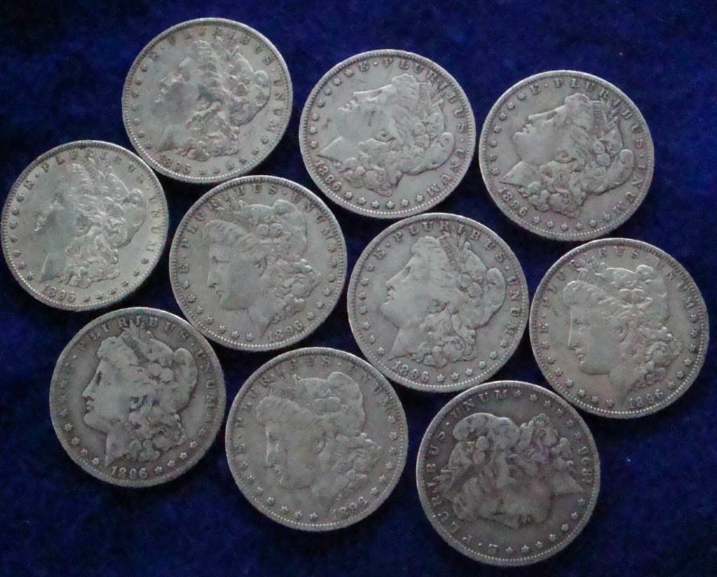 9G: Lot of 10 Morgan Silver Dollars