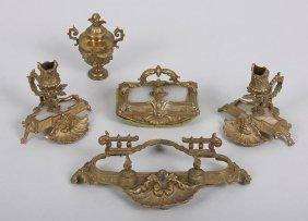 Brass Cherub Desk Accessories W/ Alabaster