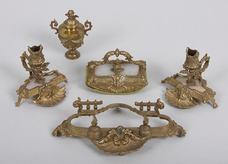 7Y: Brass Cherub Desk Accessories w/ Alabaster