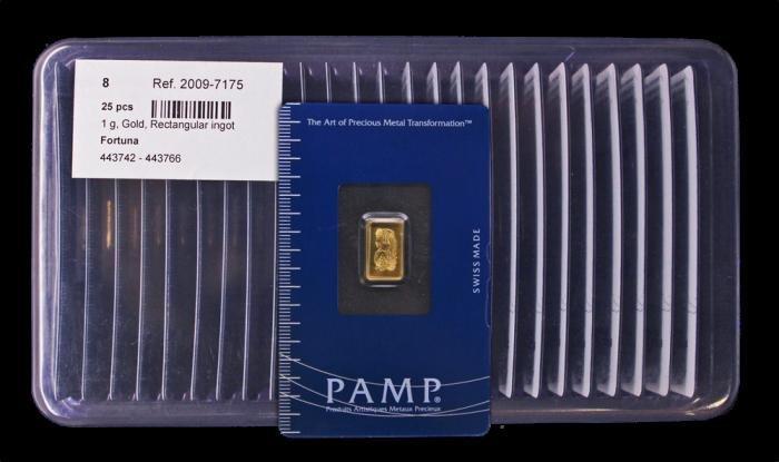 1L: Lot of 25 - 1 Gram Pamp Suisse Ingots