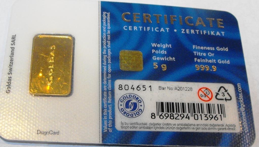 2: 5 Gram GOLDAS ingot on Assay card