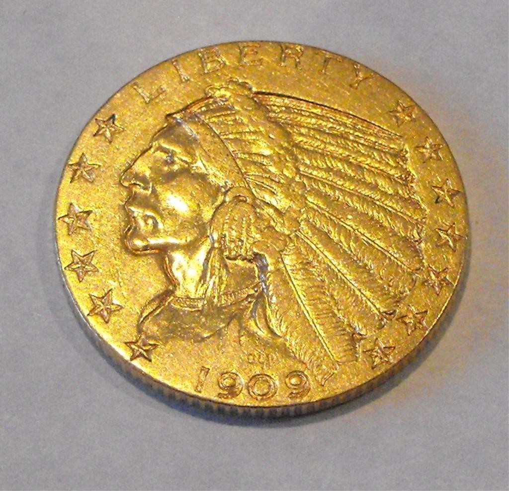 5: 1909 D $ 5 FIVE Dollar Gold Indian